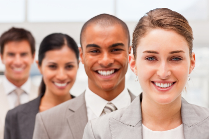 Closeup portrait of confident happy business people in a row