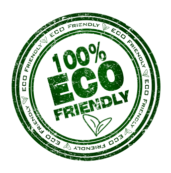 Round stamp with text: 100% Eco Friendly