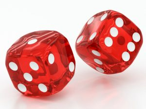 two red dices falling