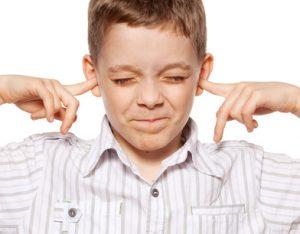 Boy closed her ears